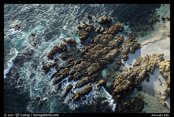 Aerial view of rocks, Cypress Point. Pebble Beach, California, USA (color)