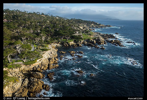 How Much Is A Mile >> Picture/Photo: Aerial view of coastline, 17-mile drive. Pebble Beach, California, USA