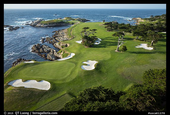 Aerial view of golf course on edge of coast. Pebble Beach, California, USA (color)