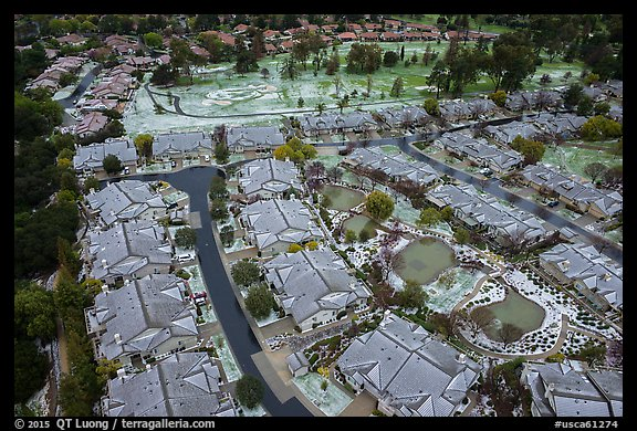 Aerial view of Villages Country Club after hailstorm. San Jose, California, USA (color)