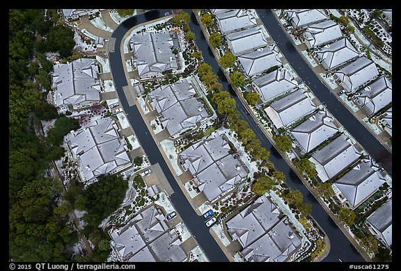 Aerial view of residences after hailstorm. San Jose, California, USA (color)