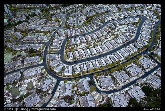 Aerial view of Villages after hailstorm. San Jose, California, USA (color)