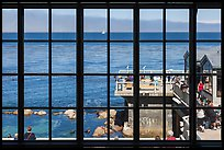 Monterey Bay framed by Monterey Bay Aquarium window. Monterey, California, USA ( color)