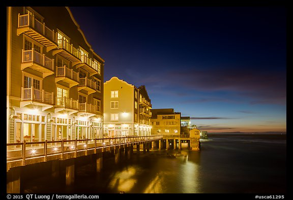 Waterfront hotels at night. Monterey, California, USA (color)