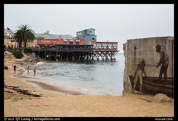 Beach near Cannery Row on cloudy day. Monterey, California, USA (color)