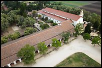 Aerial view of Mission San Juan arcades and church. San Juan Bautista, California, USA ( color)