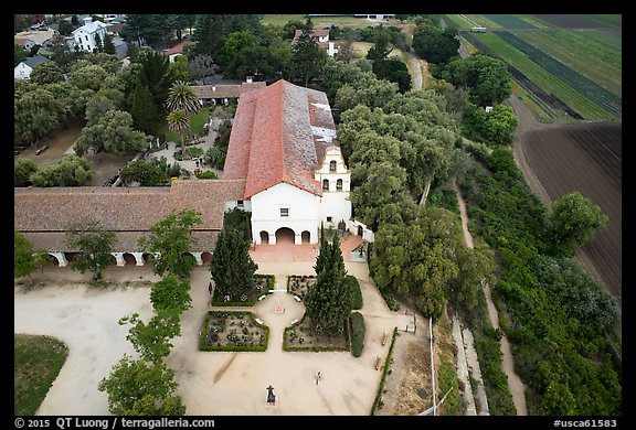 Aerial view of Mission San Juan and fields. San Juan Bautista, California, USA (color)