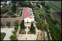 Aerial view of Mission San Juan and fields. San Juan Bautista, California, USA ( color)