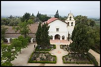 Aerial view of Mission San Juan church. San Juan Bautista, California, USA ( color)