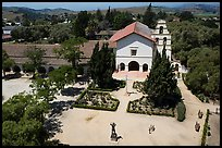Aerial view of Mission San Juan Bautista. San Juan Bautista, California, USA ( color)
