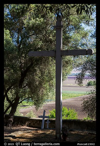 Cemetery, Mission San Juan. San Juan Bautista, California, USA (color)