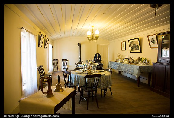 Dining room, Plaza Hotel. San Juan Bautista, California, USA (color)