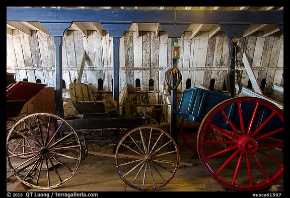Wagons, Plaza Stable. San Juan Bautista, California, USA (color)