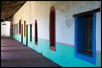 Brightly colored windows, inside arcade, Mission San Miguel. California, USA ( color)