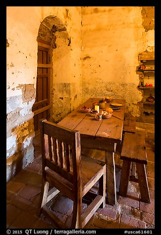 Dining table, Mission San Miguel. California, USA (color)