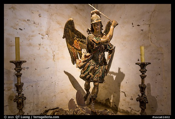 Statue of archangel San Miguel slaying dragon. California, USA (color)