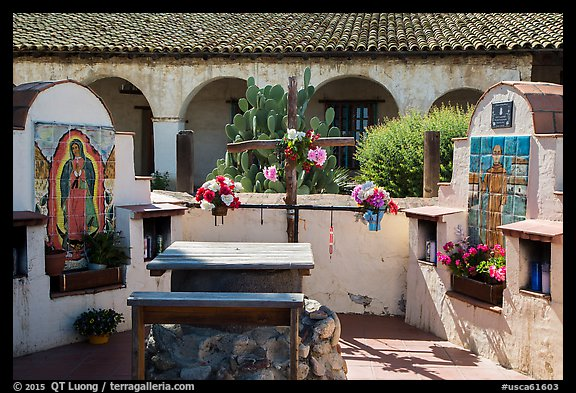 Outdoor altars and cross. California, USA (color)
