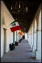 Outside arcade with Mexican and Spanish flags. California, USA ( color)