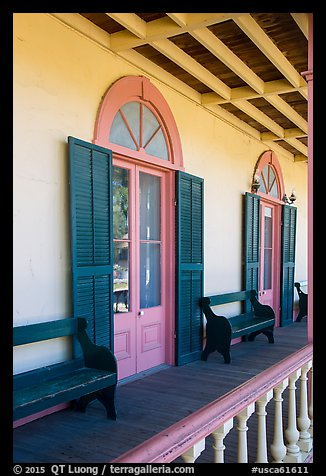 Zanetta House porch, San Juan Bautista State Historical Park. San Juan Bautista, California, USA (color)