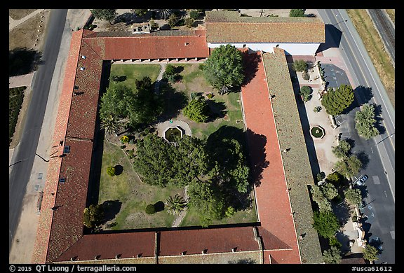 Aerial view of the four walls of Mission San Miguel. California, USA (color)