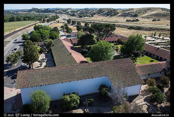 Aerial view of Mission San Miguel. California, USA (color)