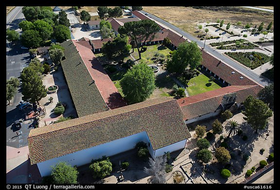 Aerial view of Mission San Miguel complex. California, USA (color)