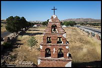 Aerial view of Mission San Miguel bell tower. California, USA ( color)