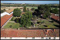 Aerial view of Mission San Miguel rooftops, church, and courtyard. California, USA ( color)