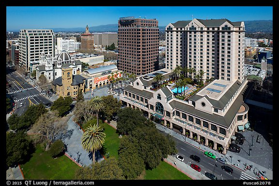 Aerial view of Fairmont Hotel, San Jose Museum of Art, and downtown. San Jose, California, USA (color)