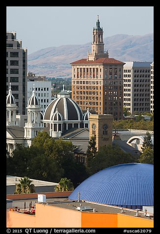 Rooftops of Tech Museum, San Jose Museum of Art, St Joseph Cathedral, and Bank of Italy building. San Jose, California, USA (color)