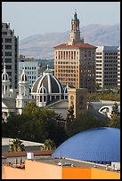 Rooftops of Tech Museum, San Jose Museum of Art, St Joseph Cathedral, and Bank of Italy building. San Jose, California, USA ( color)