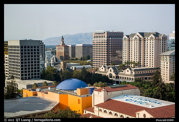 Rooftops and skyline with San Jose landmark buildings. San Jose, California, USA (color)