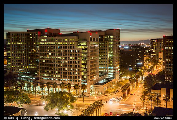 Adobe corporate headquarters at dusk. San Jose, California, USA (color)