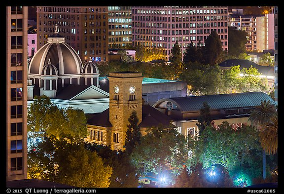San Jose Museum of Art and St Joseph Cathedral at night from above. San Jose, California, USA (color)