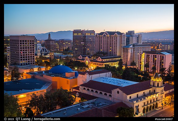 City National Civic and city skyline at dawn. San Jose, California, USA (color)