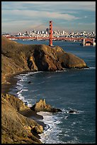 Bonita Cove, Golden Gate Bridge, and city. San Francisco, California, USA ( color)