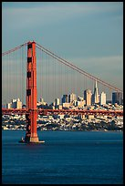 Golden Gate Bridge and city skyline. San Francisco, California, USA ( color)