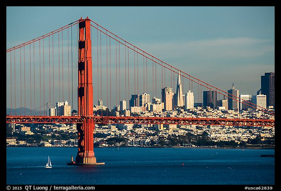 Golden Gate Bridge and San Francisco skyline. San Francisco, California, USA (color)
