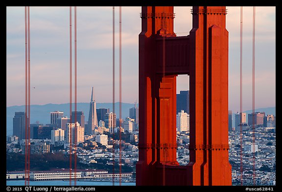 Golden Gate Bridge pillar and San Francisco skyline. San Francisco, California, USA (color)