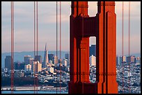 Golden Gate Bridge pillar and San Francisco skyline. San Francisco, California, USA ( color)