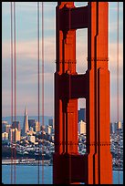 Golden Gate Bridge pillar and city skyline. San Francisco, California, USA ( color)
