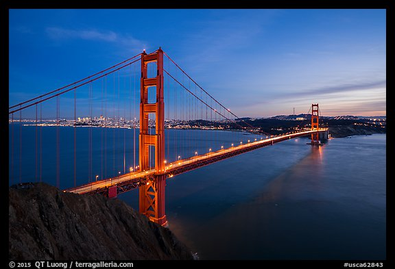 Golden Gate Bridge and San Francisco at dusk. San Francisco, California, USA (color)