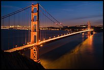 Golden Gate Bridge and San Francisco at night. San Francisco, California, USA ( color)