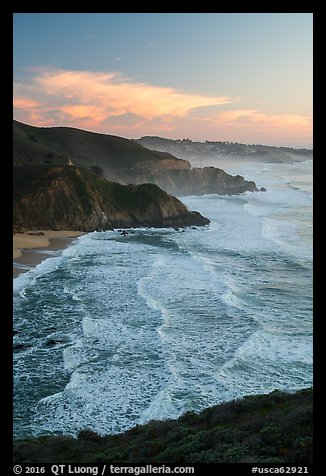 Surf, Grey Whale Cove and Montara, sunset. San Mateo County, California, USA (color)