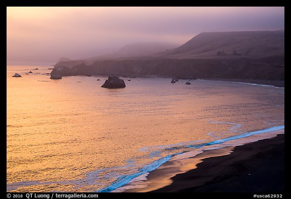 Goat Rock State Beach, sunset. Sonoma Coast, California, USA (color)