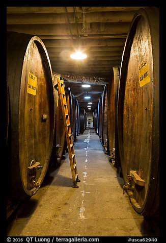 Huge barrels, Korbel Champagne Cellars, Guerneville. California, USA (color)