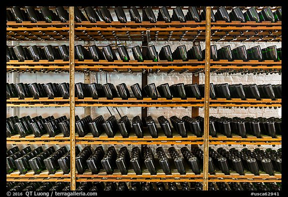Bottles on rack, Korbel Champagne Cellars, Guerneville. California, USA (color)