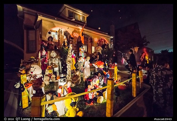 House with Halloween decorations. Petaluma, California, USA (color)