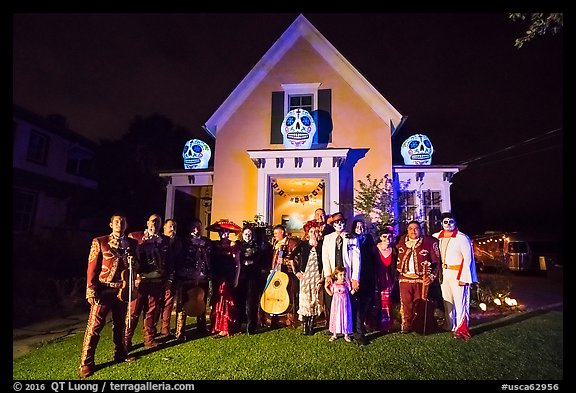Picture Photo Halloween Revelers And Decorated House
