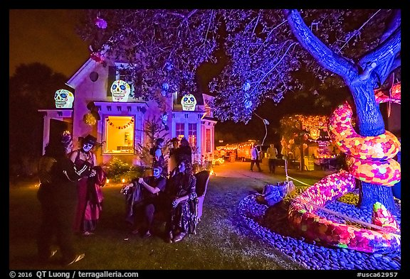 Revelers in Halloween costumes in decorated yard. Petaluma, California, USA (color)